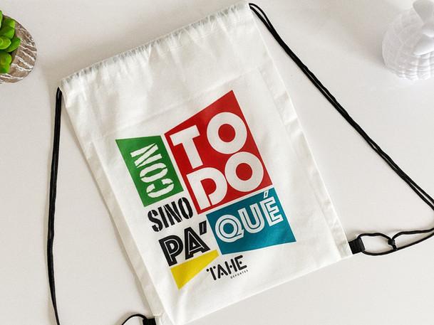 Diseño frase para bolso Tahe