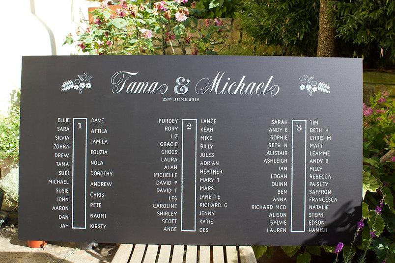Hand written wedding table plan chalkboard