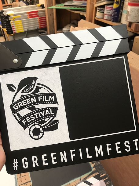 painted logo on film clapperboard for film fesival event