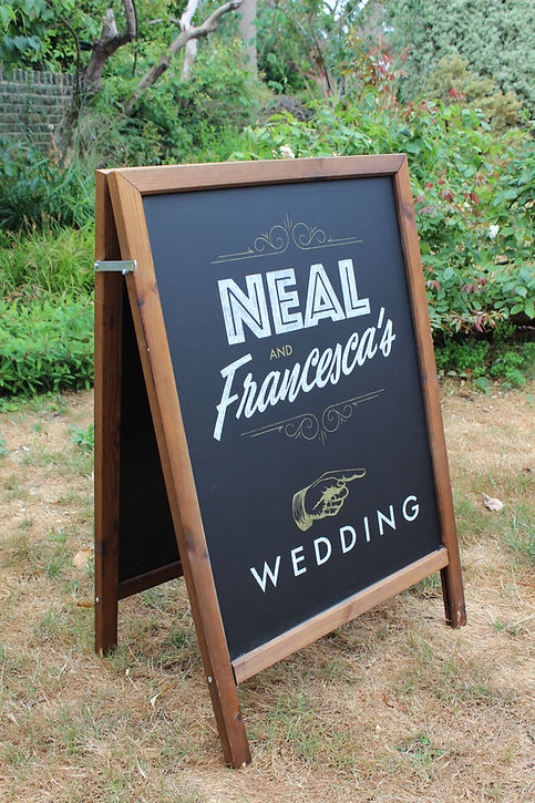 hand drawn welcome chalkboard for wedding