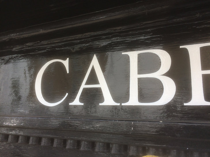 close up of hand painted lettering for shop fascia sign