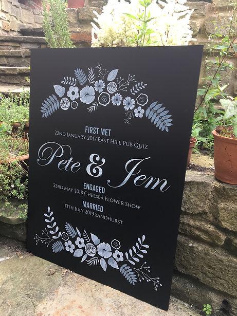 Hand drawn floral decorative chalkboard for wedding