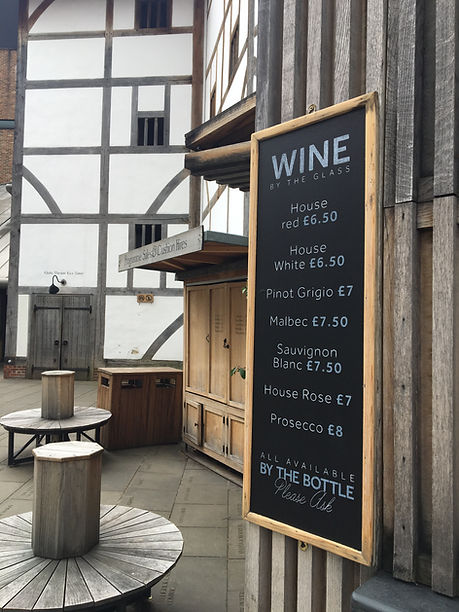 Hand written wine menu in chalk for Swan at the Globe