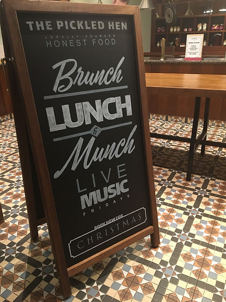 hand drawn chalk A-board for outside restaurant
