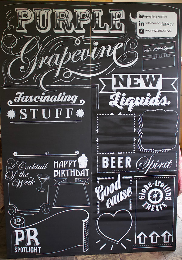 hand painted board for bar