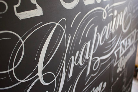 close up of hand painted board for bar