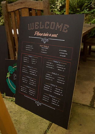 welcome seating plan wedding chalkboard