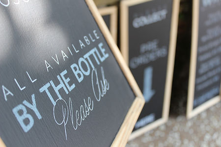 close up shot of hand drawn chalkboard for venue