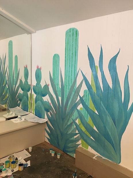 painted cactus and aloe interior wall mural for restaurant