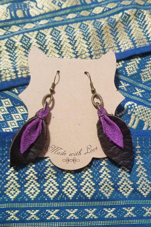 Leather Tear Drop Earrings - Plumb & Purple