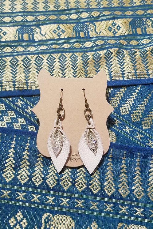 Leather Tear Drop Earrings - White & Silver