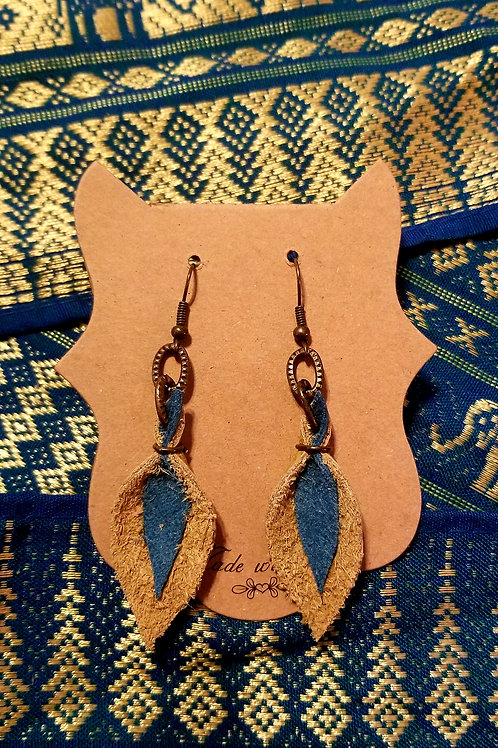 Leather Tear Drop Earrings - Brown & Turquoise Textured