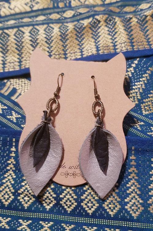Leather Tear Drop Earrings -Silver & Black