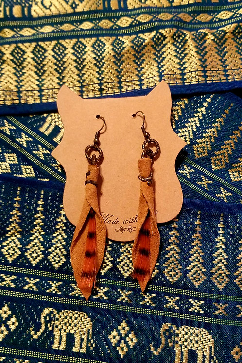 Leather Earrings - Brown & Orange Feather