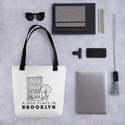 A Dog Plays in Brooklyn tote bag