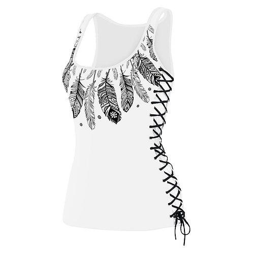 U neck 3D Print Side BandageTank Top