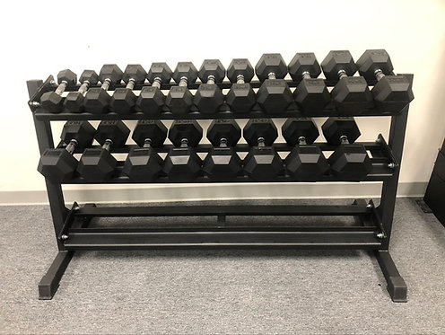Bodykore 5-50lb Rubber Hex Dumbbell Set w/ Rack (10 Pairs)