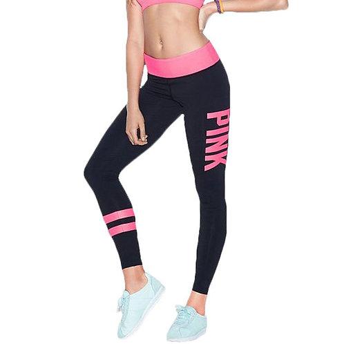 Pink letter print yoga pants