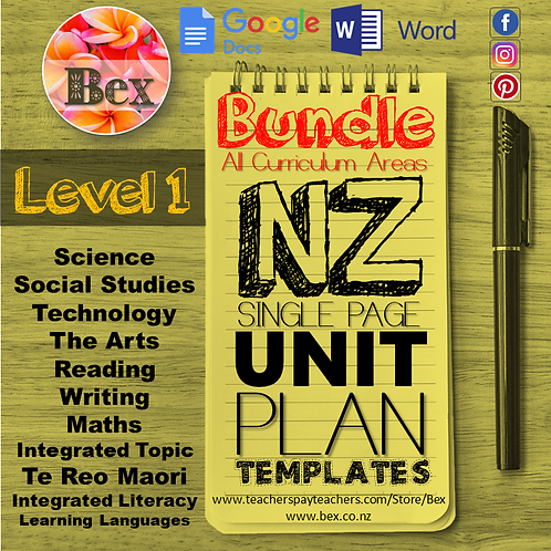 New Zealand Unit Plan Template Bundle (Level 1 NZC)