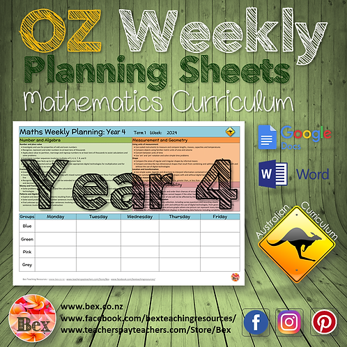 Australian Maths Weekly Planning Sheets - Year 4