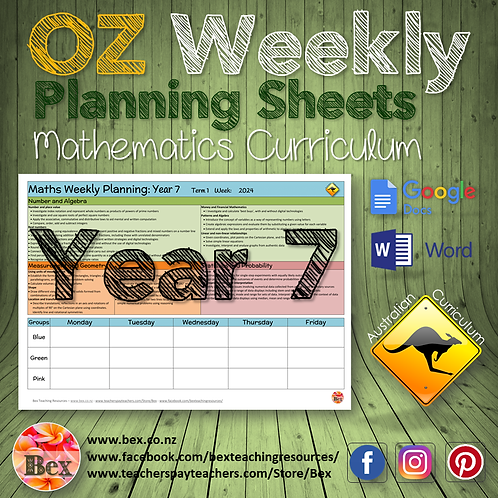 Australian Maths Weekly Planning Sheets - Year 7