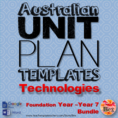 Australian Unit Plan Templates - Technologies Pack - Foundation Year - Year 8