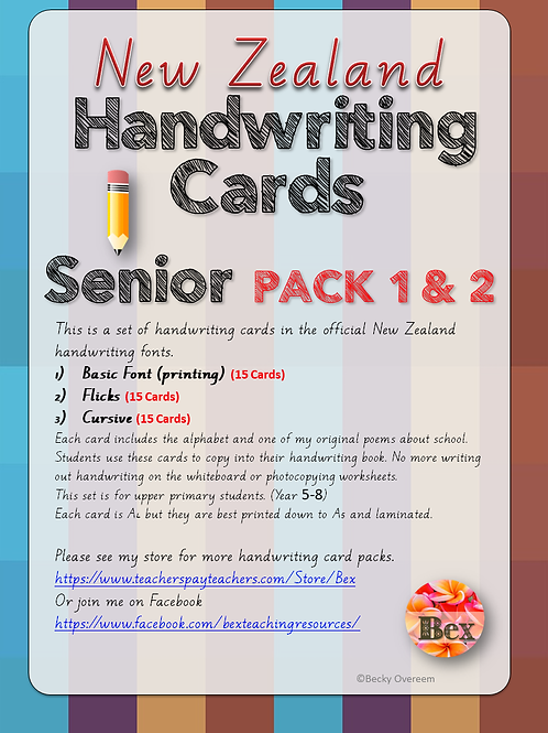 Senior Handwriting Card Pack 1 & 2 (New Zealand Font)