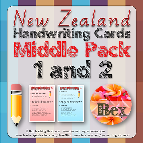 Middle Handwriting Card Pack 1 & 2 (New Zealand Font)