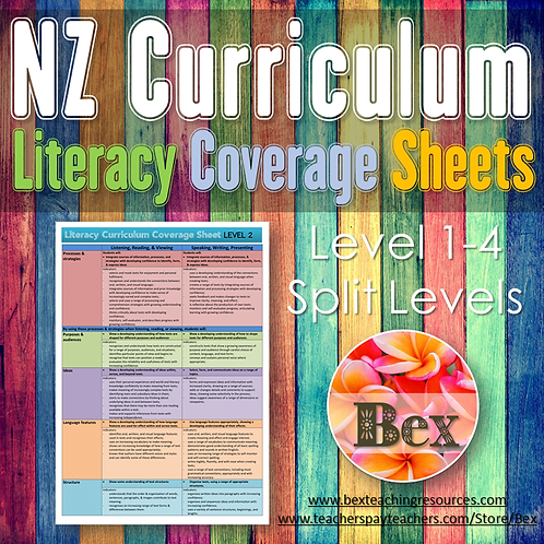 New Zealand Literacy Curriculum Coverage Sheet (Level 1-4 Split Levels)