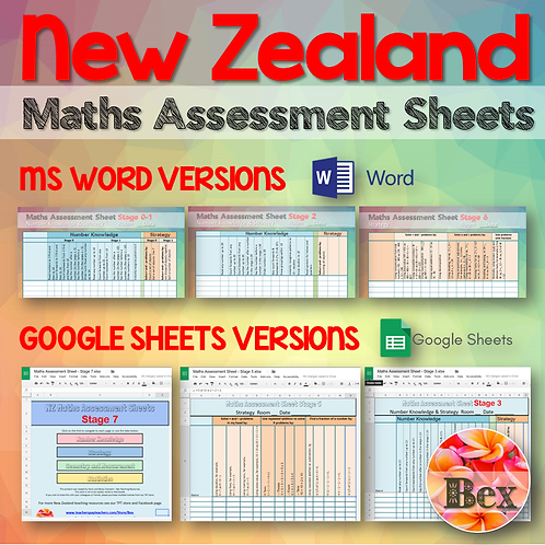 Maths Assessment Sheets - New Zealand