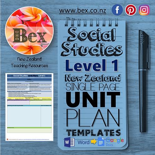 New Zealand Social Studies Unit Plan Template (Level 1 NZC)