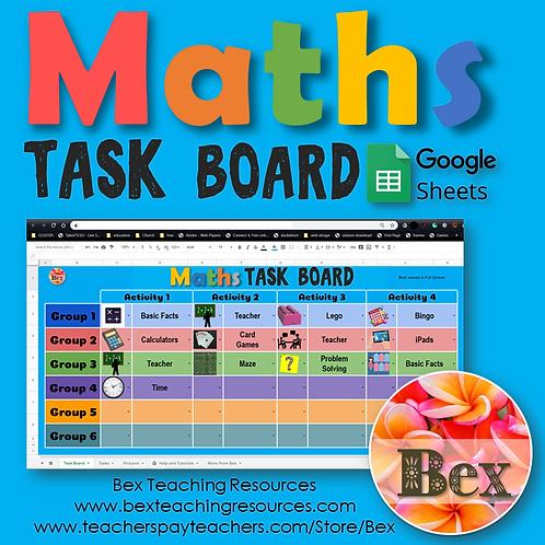 Maths Task Board - Google Sheets