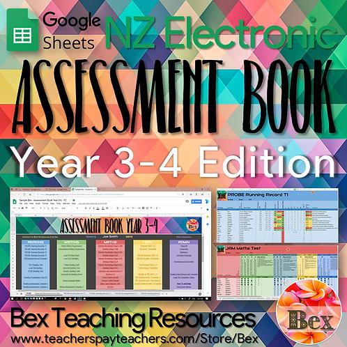 Yr 3-4 Google Sheets Assessment Book (New Zealand Version)