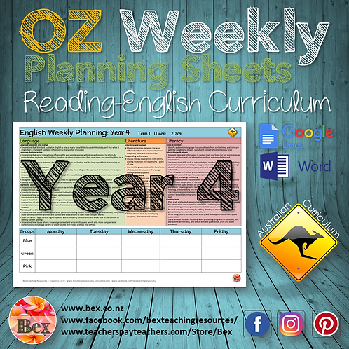 Australian Reading Weekly Planning Sheets - Year 4