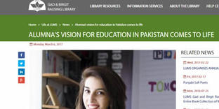 Lums.edu   Alumna's Vision for Education in Pakistan Comes to Life