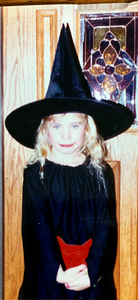 Sofia at 6 years old dressed as a witch