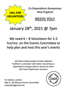 Looking for volunteers to join the Events committee to help plan CoDA workshops, January 28th 7PM