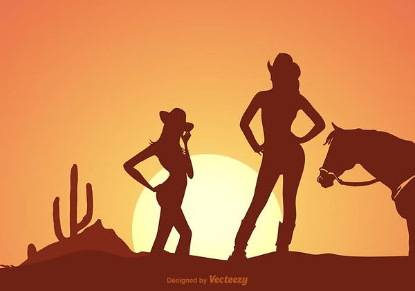 free-cowgirls-silhouette-at-sunset-vecto