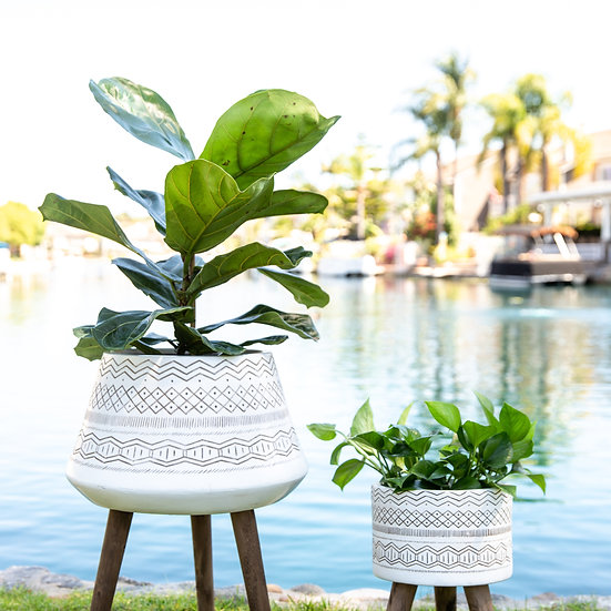Tribal Wooden Plant Stands White/Black