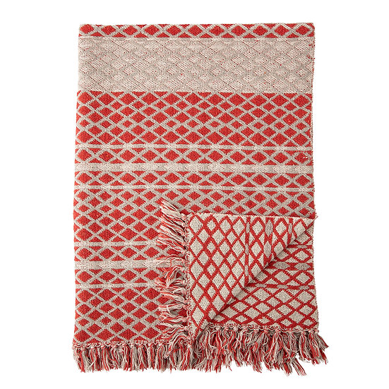 Verona Throw, Red, Recycled Cotton