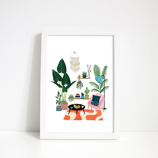 Lara Oztekin - Living Room Cat Scene Print