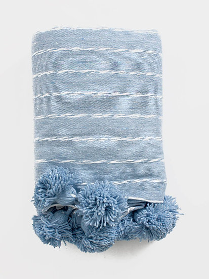 COTTON SCRIBBLE STRIPE BLANKET, BABY BLUE