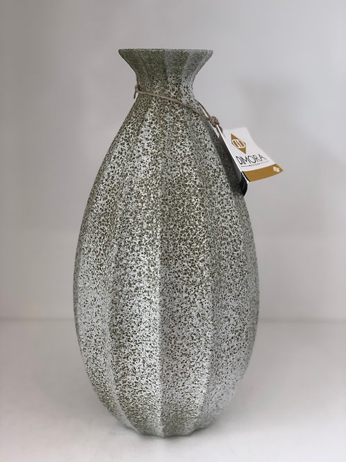 Fluted  Cinched Vase Celadon Pebble Tall