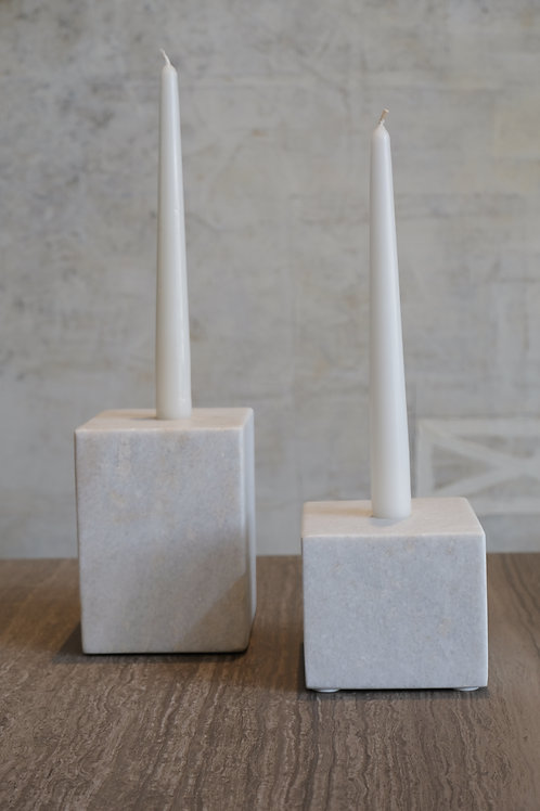 Marble block candle hol