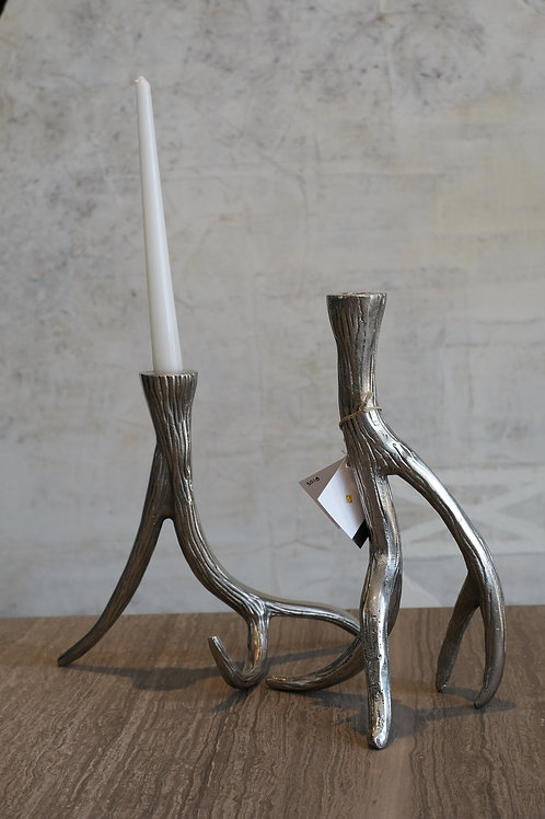 Antler Aluminum Taper Candle Holders