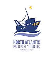 This is the North Atlantic Pacific Seafood Logo, it is a boat with a star above it, with the company name written below.