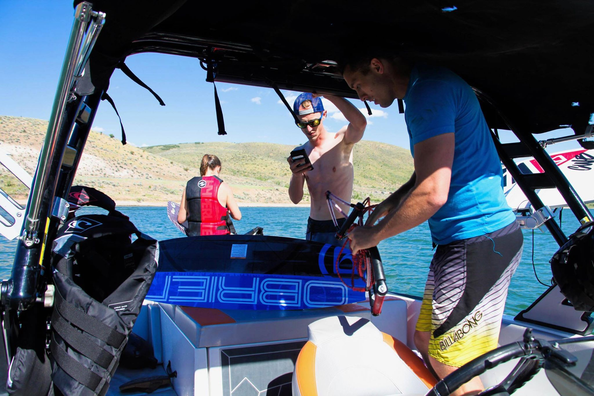Getting ready to surf behind our boat at Bear Lake in Utah