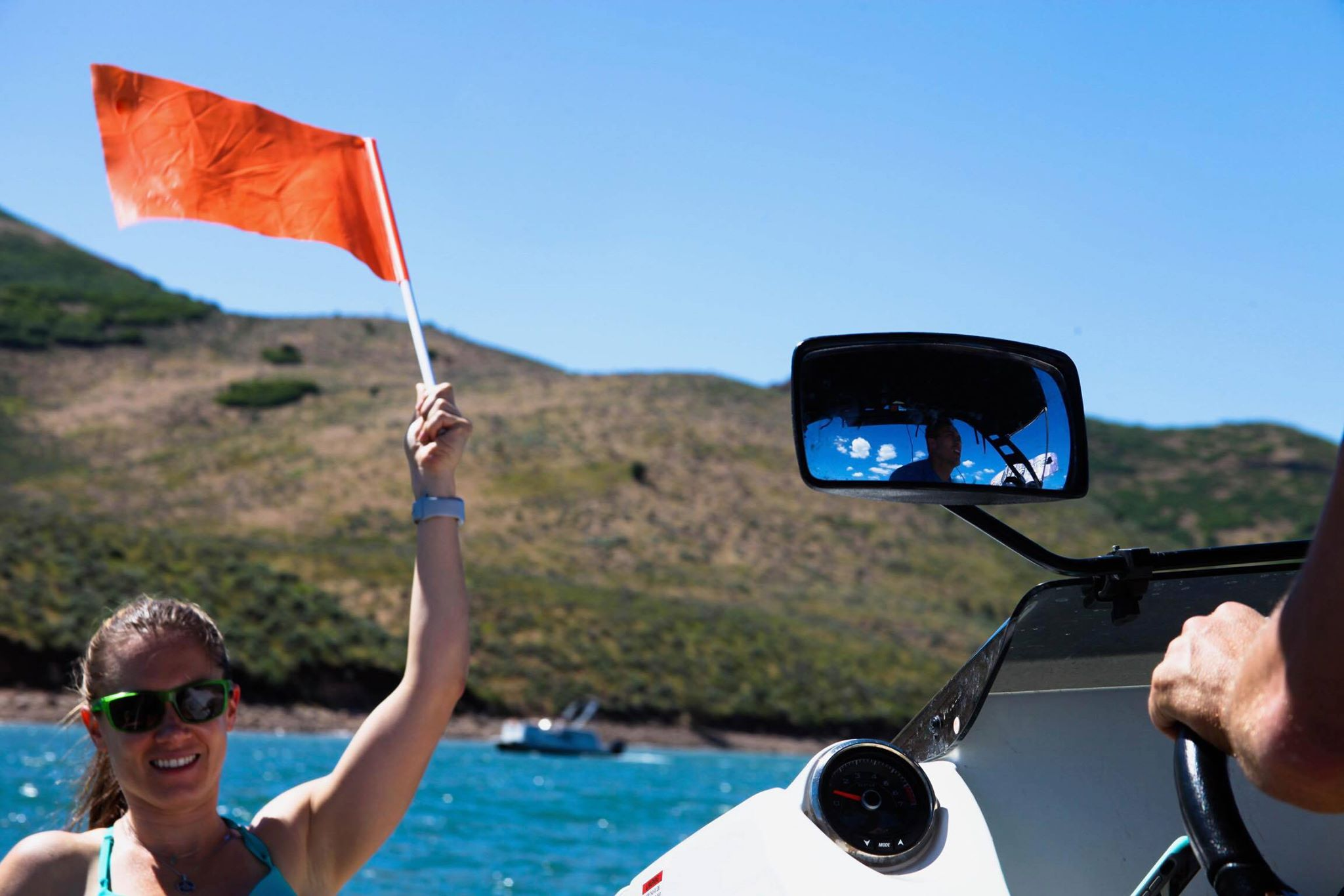 Orange flags up during our boat rentals