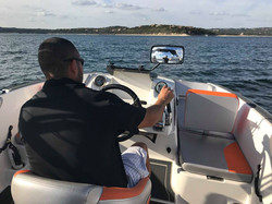 Hitting 44 mph with the throttle down on Heyday boat