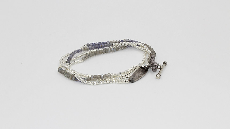 4 Wrap Silver & Light Blue Bracelet/Necklace/Anklet